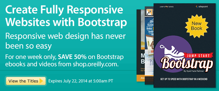 Create Fully Responsive Websites with Bootstrap - Save 50% on Bootstrap Ebooks & Videos