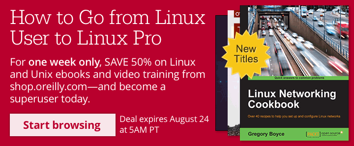 SAVE 50% on Linux and Unix ebooks and training videos