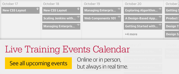 Live training events calendar. See all upcoming events.