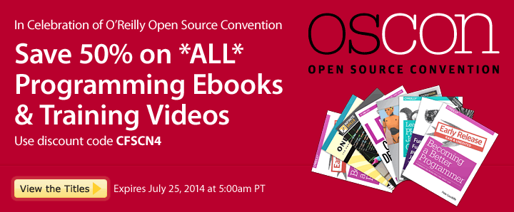 In celebration of OSCON, save 50% on all programming books and videos - Learn More