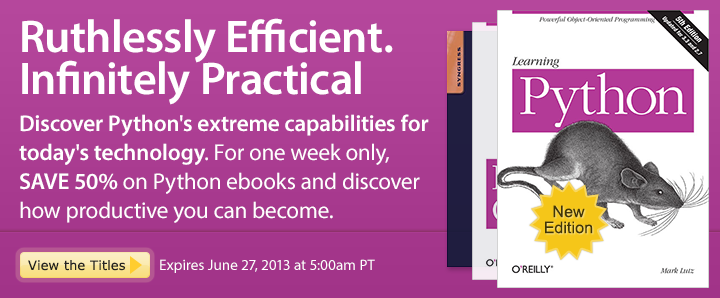 Ruthlessly Efficient. Infinitely Practical - Save 50% on Python ebooks