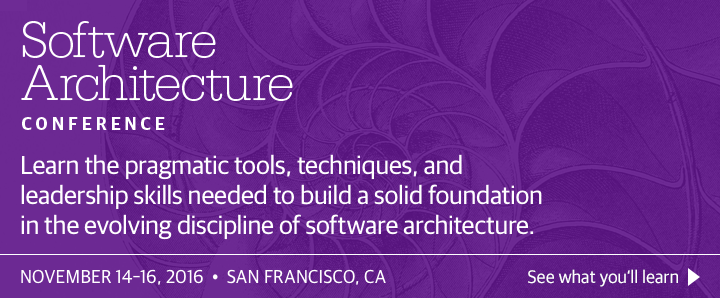 O'Reilly Software Architecture Conference in San Francisco, CA, November 14-16, 2016. See what you'll learn.