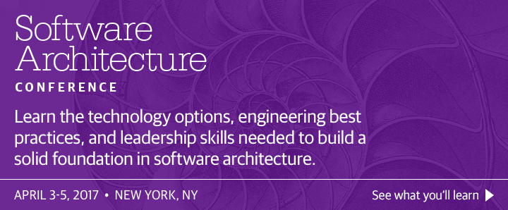 O'Reilly Software Architecture Conference in New York, NY, April 3-5, 2017. See what you'll learn.