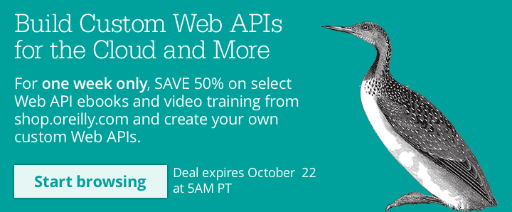 Save 50% on select Web API ebooks and video training