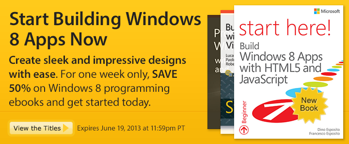 Start Building Windows 8 Apps Now - Save 50% on windows programming ebooks