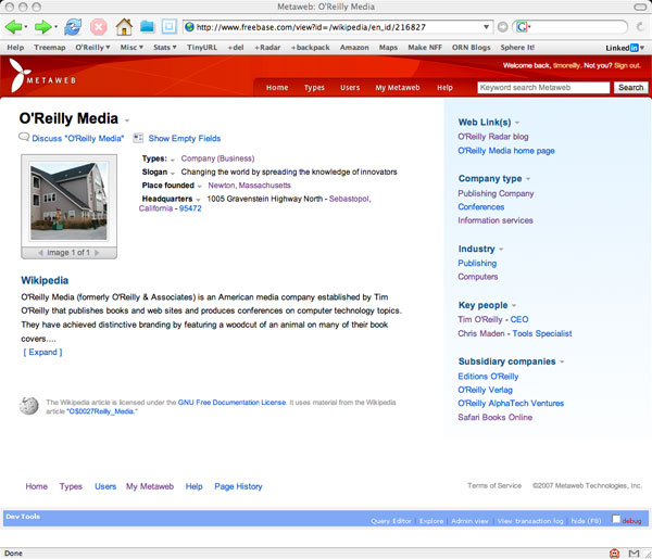O'Reilly Media page in Freebase, updated