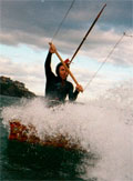 Saul Griffith kitesurfing.  Photo by Tim Anderson.