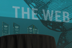 O'Reilly Web Platform Award trophies from 2015